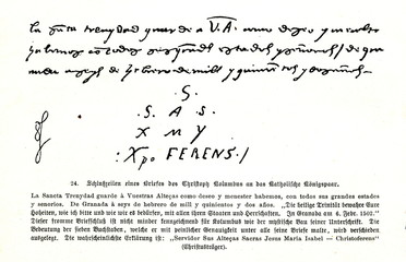 Last rows of Columb's letter to the  Catholic Monarchs Isabella and Ferdinand (from Spamers Illustrierte Weltgeschichte, 1894, 5[1], 64)