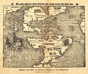 "Tabula novarum insularum - first map of American continents from Münster's ""Cosmography"" (from Spamers Illustrierte Weltgeschichte, 1894, 5[1], 64/65)"