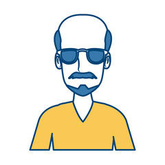Man face cartoon with glasses icon vector illustration graphic design