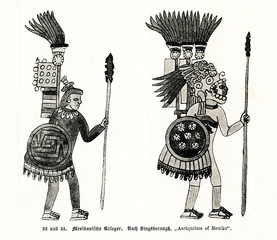 Warriors of Pre-Columbian Mexico (from Spamers Illustrierte Weltgeschichte, 1894, 5[1], 73)