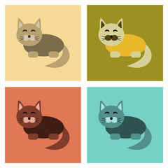 assembly flat icons pet cat