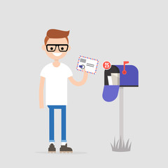 Young character holding an envelope with the stamps. Paper letter. Correspondence / flat editable vector illustration, clip art