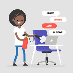 Troubleshooting, conceptual illustration. Young black girl trying to extinguish a fire on her workplace / flat editable vector illustration, clip art