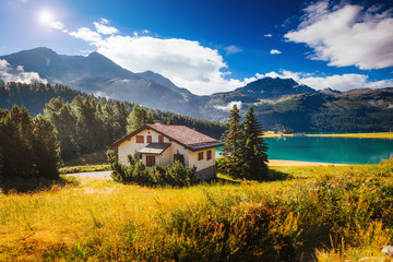 Fototapete - Great view of the azure pond Champfer. Location Swiss alps, Silvaplana village, district of Maloja, Europe.
