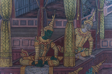 Art painting on the wall about ramayana story