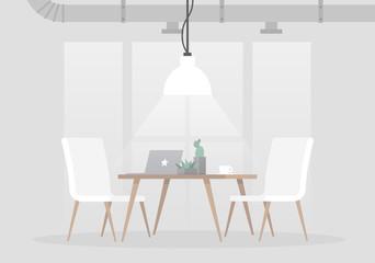 Loft interior, vector illustration. Light grey colours and minimalistic furniture. Empty space, no people. Flat editable vector illustration, clip art.