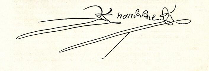 Autograph of  Hernando Cortés, spanish conquistador (from Spamers Illustrierte Weltgeschichte, 1894, 5[1], 81)