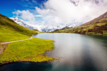 Panorama of Mt. Schreckhorn and Wetterhorn above Bachalpsee lake. Location Swiss alps, Bernese Oberland, Grindelwald, Europe