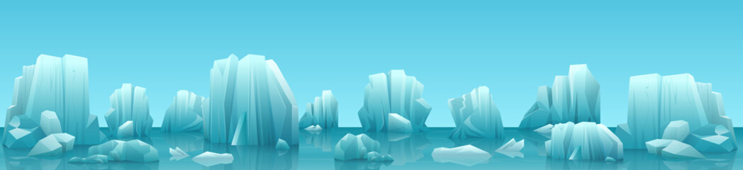 Vector wide web banner illustration of arctic landscape with icebergs and mountains. Winter panorama background. Fototapete