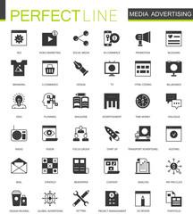 Black classic Media Advertising icons set for web
