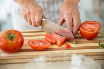 woman preparing a gazpacho