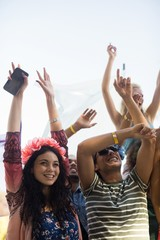 Happy fans with arms raised enjoying at music festival