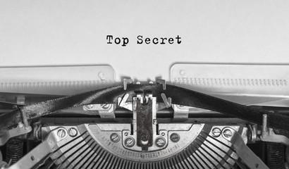 Top Secret typed words on a Vintage Typewriter