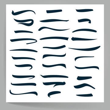Underline Vector Set. Handmade Vector Lines Isolated On White Background. Typography Design. Handmade Vintage Elements For Poster, Banner, Print, Invitation, Greeting Card Design