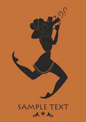 Ancient Greece girl carrying an amphora. Silhouette