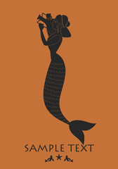 Ancient Greece mermaid carrying an amphora. Mediterranean mythology
