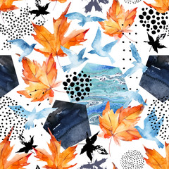 Printed roller blinds Graphic Prints Autumn watercolor background: leaves, bird silhouettes, hexagons.