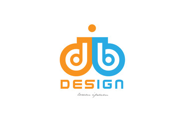 Obraz db d b orange blue alphabet letter logo combination - fototapety do salonu