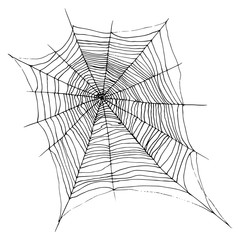 Hand drawing decorative beautiful spider web, cartoon sketch style, black color, isolated on white background.Vector backdrop cobweb for halloween.