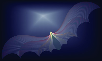 Vector Illustration of Colorful pattern of line or wave abstract background. The colorful bat on black sky background. EPS10.