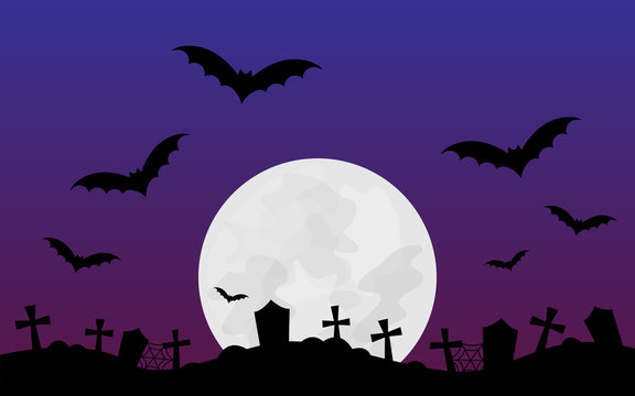 Halloween scary vector illustration background. Halloween themed graphic print with full moon, bats, graveyard, dark purple and violet colored background.