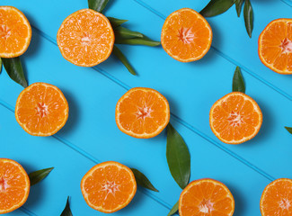 tangerines with green leaves