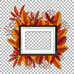 Picture frame with orange leaves in background