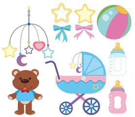 Different accessories for baby on white background