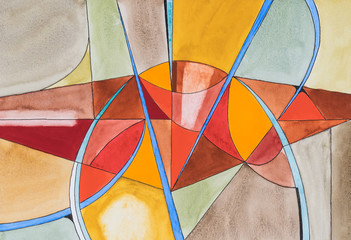 An abstract watercolour painting; Fractured theme, warm colours.