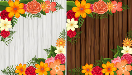 Colorful flowers on wooden background in white and brown