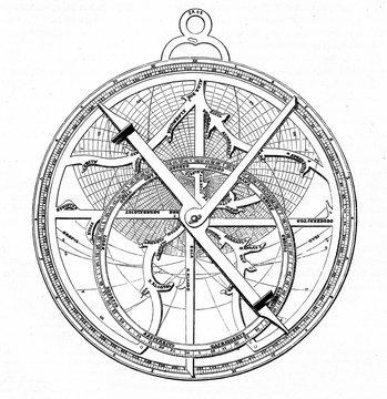 Astrolabe, designed by german astronomer Regiomontanus (from Spamers Illustrierte Weltgeschichte, 1894, 5[1], 109)
