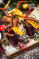 Serving festive hot mulled red wine
