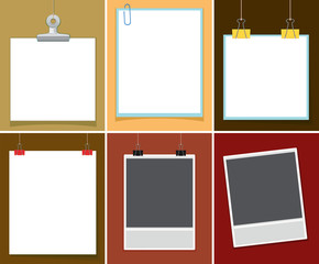 Blank paper with paper clips on different backgrounds