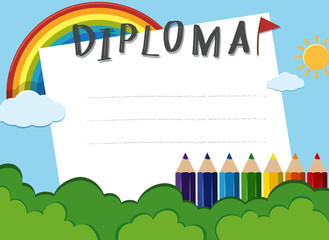 Diploma template with rainbow in the park