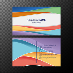 Businesscard template with colorful wavy lines