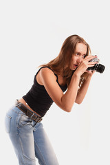 Model on white background with camera