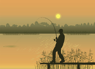 Vector image of a fisherman with a fishing rod