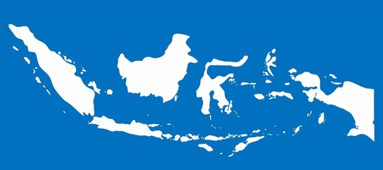 White Indonesia map on blue background, Vector Illustration