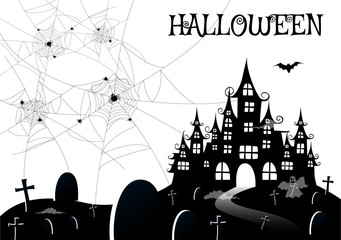 haunted house with ghost,Halloween night background.Vector illustration.