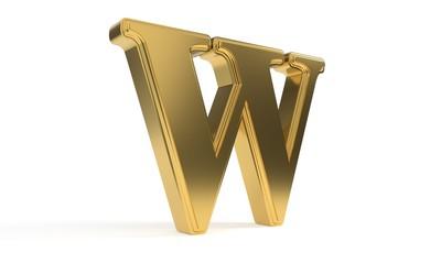 W gold romantic alphabet, 3d rendering