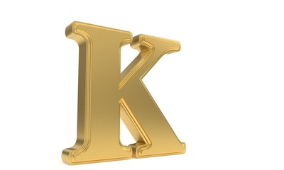 K gold romantic alphabet, 3d rendering