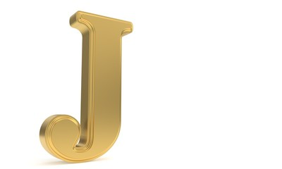 J gold romantic alphabet, 3d rendering