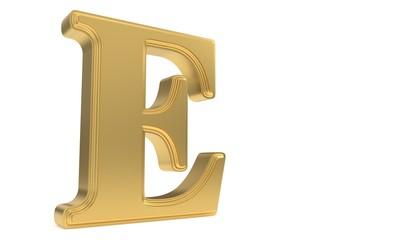 E gold romantic alphabet, 3d rendering