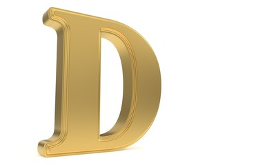 D gold romantic alphabet, 3d rendering