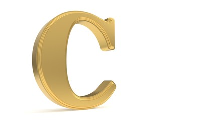 C gold romantic alphabet, 3d rendering