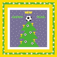 New Year card, vector icon, soccer ball