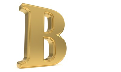 B gold romantic alphabet, 3d rendering