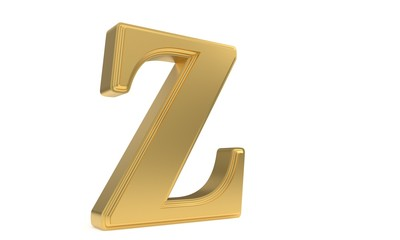 Z gold romantic alphabet, 3d rendering
