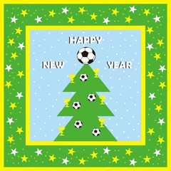 New year card, vector icon, soccer ball