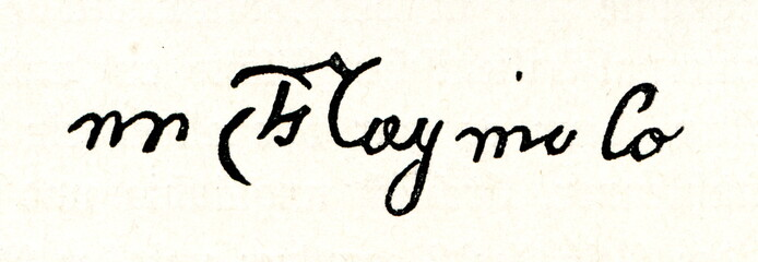 Autograph of Michelangelo, italian sculptor and painter (from Spamers Illustrierte Weltgeschichte, 1894, 5[1], 120)
